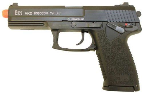 KWA USP MK23 SOCOM Airsoft Gas Gun Pistol by KWA. $169.99. Specifications: - Velocity: 360 FPS (0.2 g BB) / Range 110-120 feet - Barrel Length: 5 inches / 13 cm - Magazine Capacity: 25 Rounds Features: - Full Metal Slide - New NS2 Gas System - Ambidextrous Safety Selector - Threaded Barrel - Adjustable Hop Up - Functional Decocker - Official H&K License Trademark