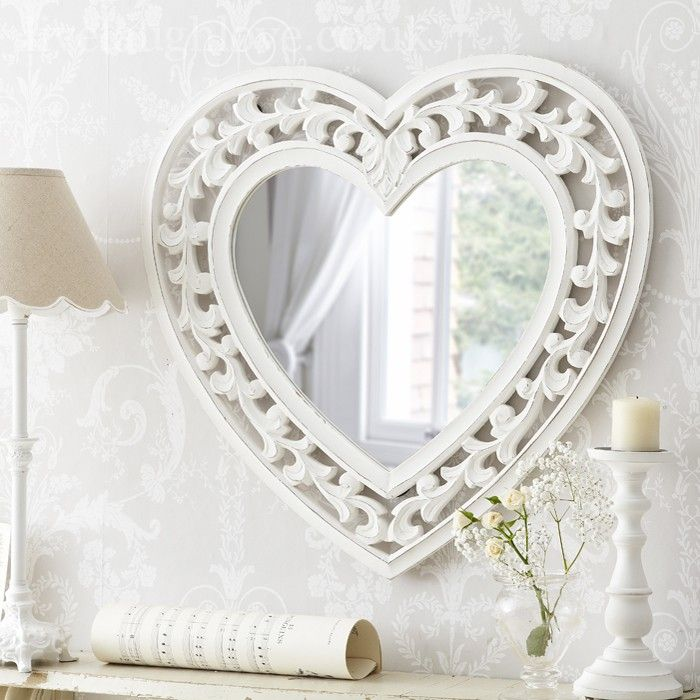 Large Carved Heart Mirror