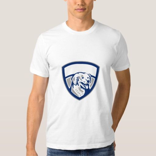 Kuvasz Dog Head Crest Retro T Shirt. Illustration of a head of a Kuvasz, an ancient breed of a livestock dog of Hungarian origin viewed from front set inside shield crest done in retro style. #Illustration #KuvaszDogHead