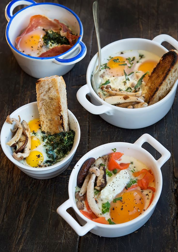 Oeufs en Cocottes (Eggs Baked in Little Dishes) from Wild Greens and Sardines