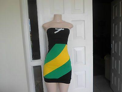 Mini Dress Heritage wear Jamaican Color Off Shoulder One Size Petites100% Cotton