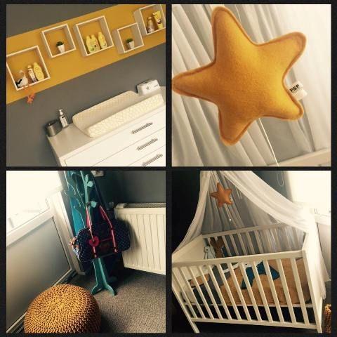 Altijd geweldig om foto's van klanten te ontvangen! Babykamer in grijs met okergeel.Mooi!!