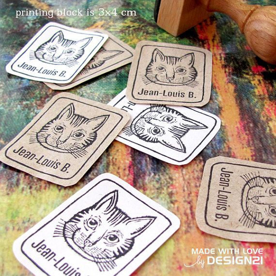 Cat: personalised stamp 3x4 cm by lida21 on Etsy