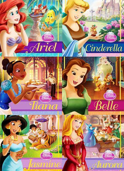 Ariel, Cinderella, Tiana, Belle, Jasmine, and Aurora