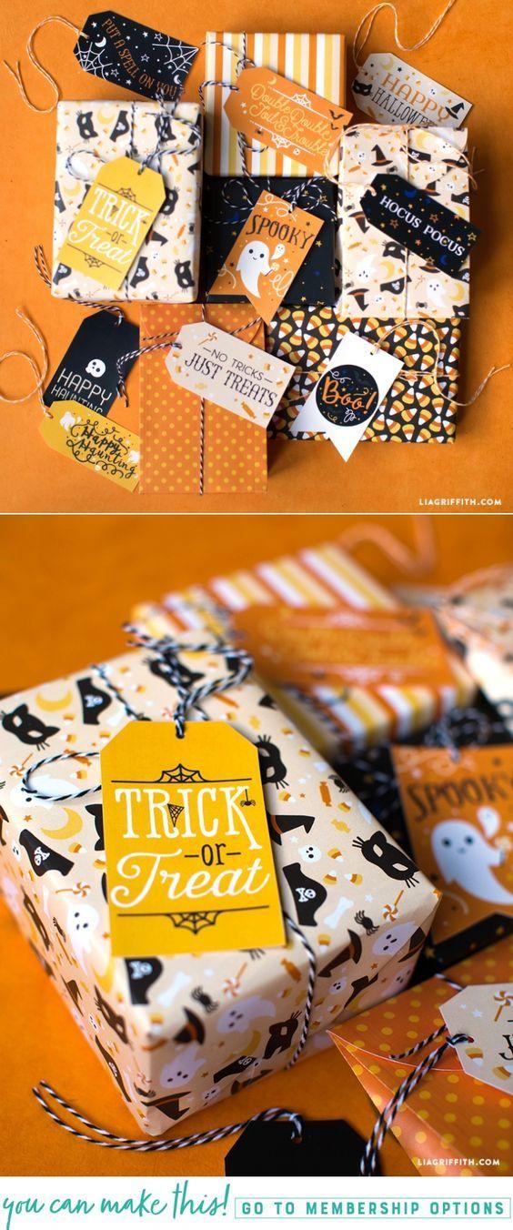 Printable Halloween Gift Tags and Gift Wrap - Lia Griffith - www.liagriffith.com #diyinspiration #printables #giftwrap #diyhalloween #diyidea #diyideas #madewithlia