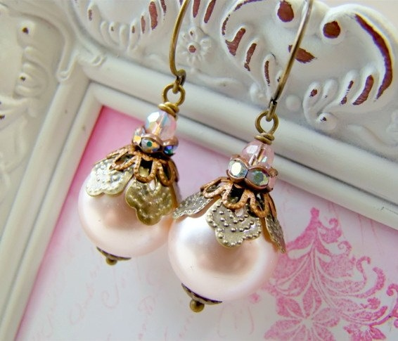Vintage Style Pink Pearl Drop Rhinestone Earrings by Alyssabeths, $17.00