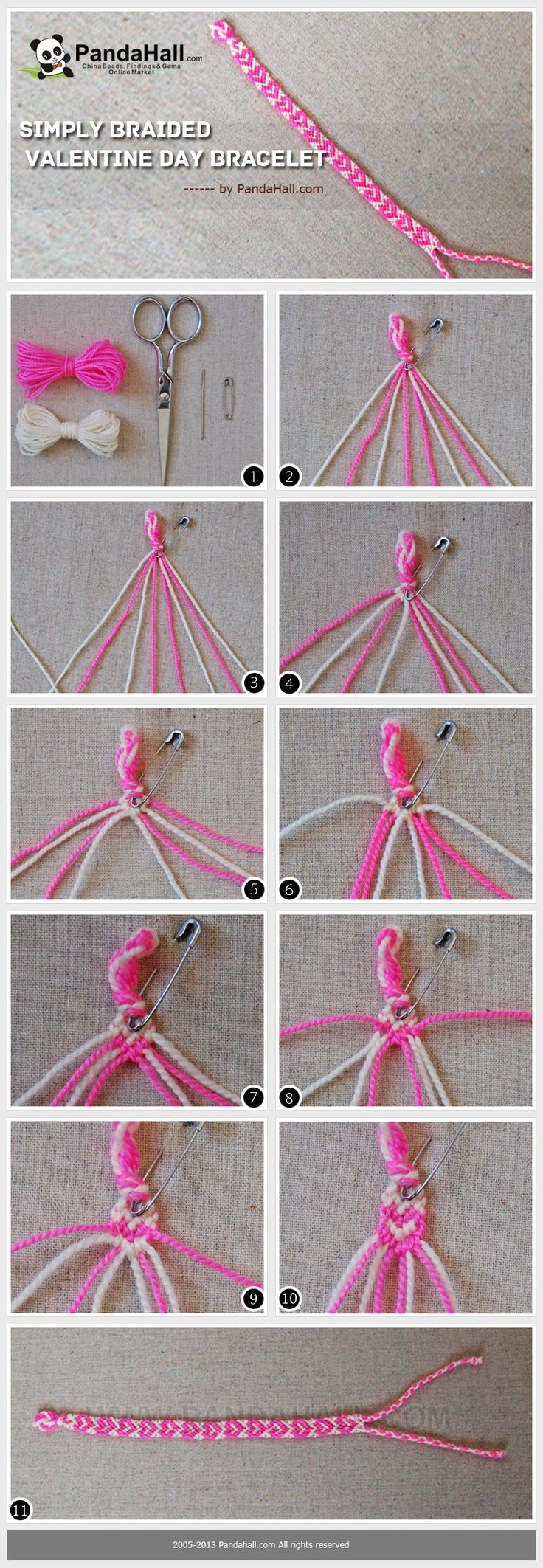 With HD photos and choice phrases this tutorial named valentine day bracelet is to teach you a simple way to make bracelets with string in hearts pattern.