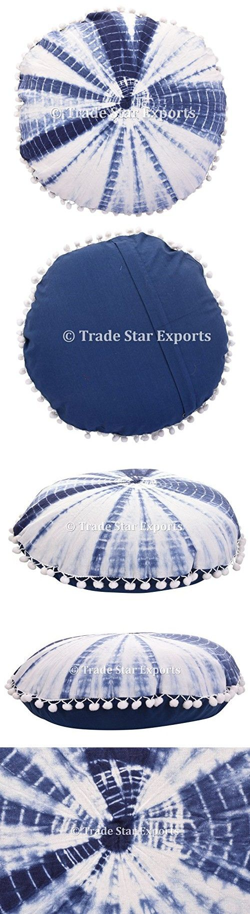 "16"" Shibori Cushion Cover, Round Pillow case, Indigo Tie Dye Pillows, Outdoor Ottoman Poufs, Boho Pillow Shams, Indian Cotton Pillowcase, Room Decor Pillows"