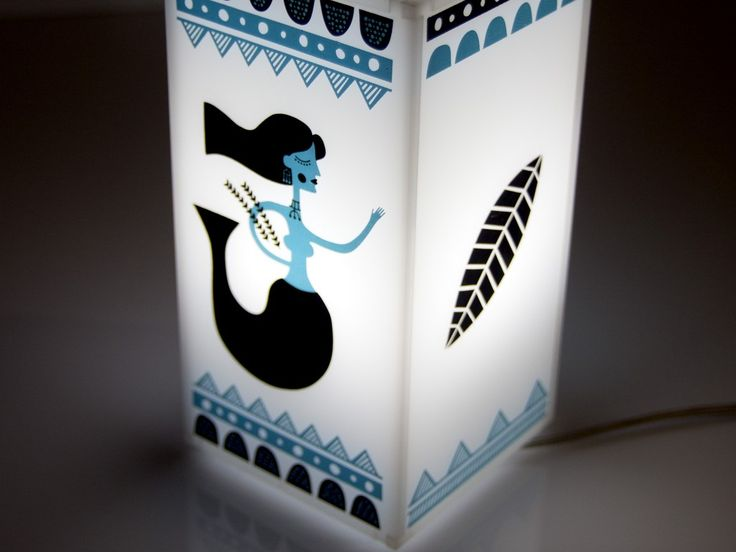 Mermaid  | Plexiglass table lamp | screenprinted & lazer cutted | 11 x 11 x 21 cm