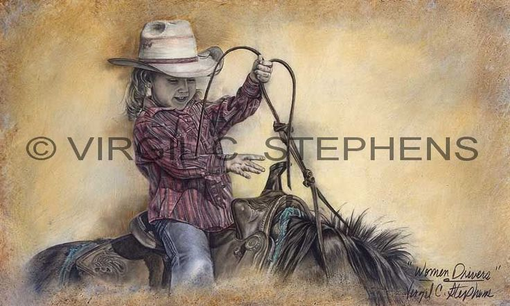 My husband did this of a clients granddaughter, Women Drivers,giclee print from the original oil painting by Virgil C. Stephens