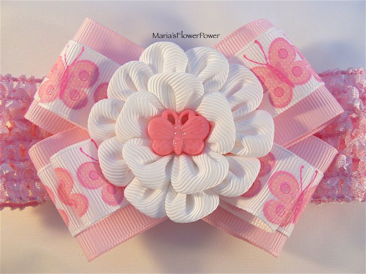 Crochet headband with Kanzashi flower bow/ elastic stretchy hair band for girls toddlers baby- buy in UK, shipping worldwide- Pink Butterfly by MARIASFLOWERPOWER on Etsy