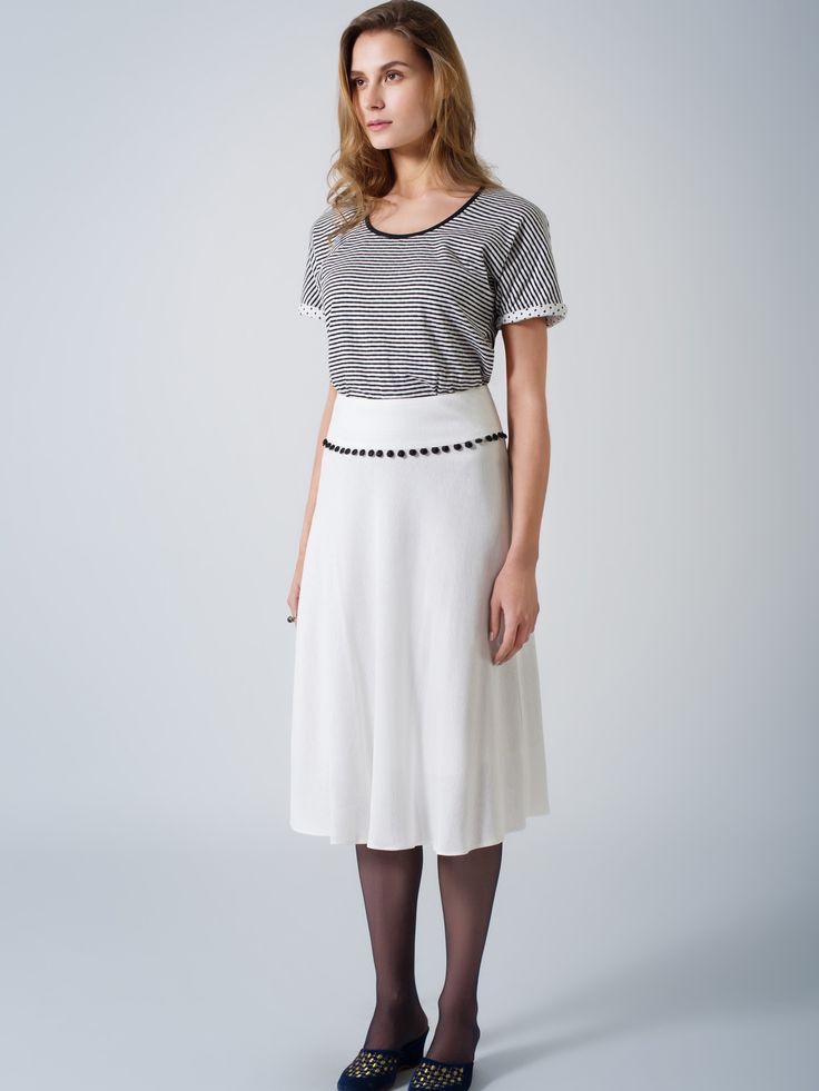 Organic cotton double sided T top / stripes & dots / Ecru winter A-line midi skirt / black pom pom trim detail