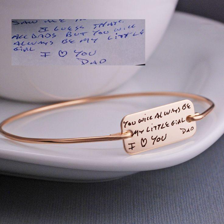 Custom Engraved Handwriting Jewelry - Gold Bracelet – georgie designs personalized jewelry