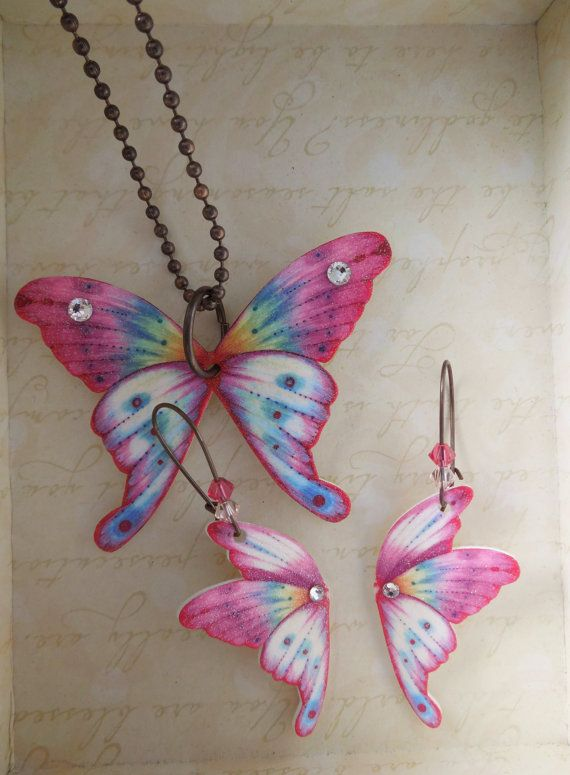 RESERVED FOR G.M. Butterfly Necklace Earring Set Plastic Shrink Art Dangle. Crystal Glitter Brass Lead free Handmade