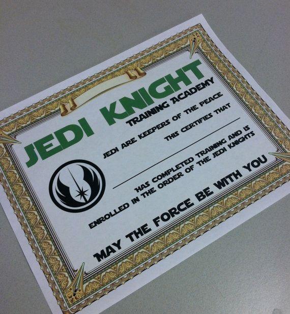 Star Wars Party Printable - Training Academy Certificate (digital print)
