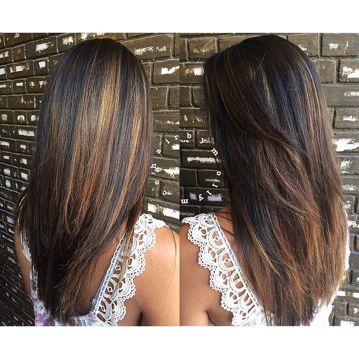 Long Straight Chocolate Brown Hair With Cinnamon Balayage