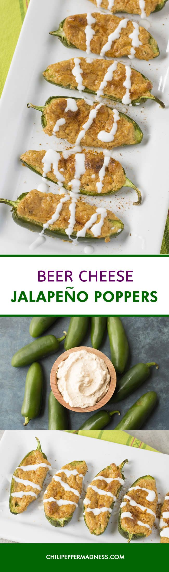 Beer Cheese Jalapeno Poppers - A recipe for jalapeno poppers stuffed with creamy, homemade beer cheese. These are the ultimate appetizer for game day or any party. Bake them up and watch them disappear.