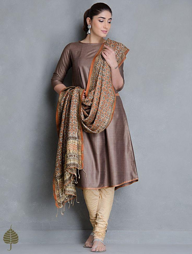 Brown Tussar Munga Kurta with Pockets by Jaypore Apparel