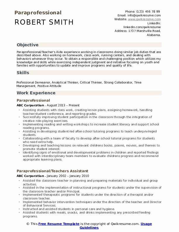 Quality Control Job Description Resume Luxury Paraprofessional Resume Samples Cover Letter Sample Cover Letter For Resume Paraprofessional