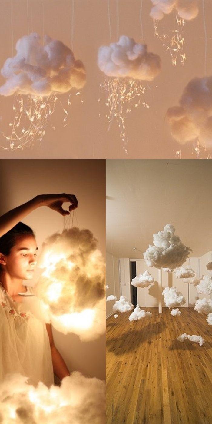 Делаем облака  Нам понадобится: Вата (столько, сколько хотите облаков); крахмал; вода; стакан; кастрюлька или ковшик, чайн...