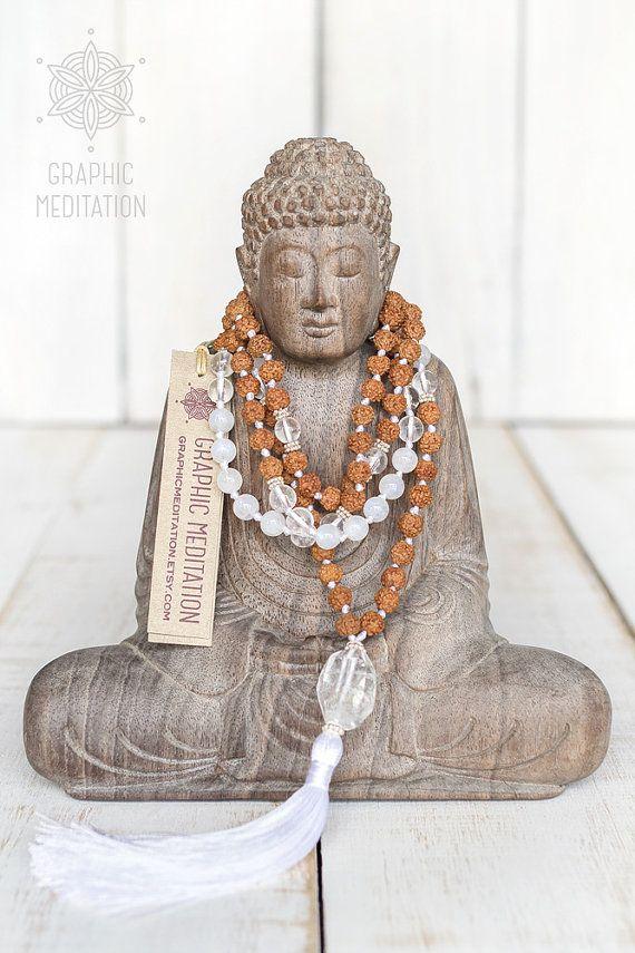 Moonstone mala, Yoga mala, Rudraksha and crystal 108 mala beads, Meditation…