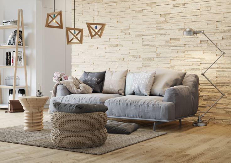 foorni.pl   KAMIEŃ DEKORACYJNY CRETA 1, kamienna ściana w salonie,  producent: Stegu