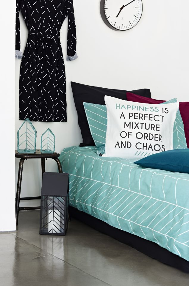 Muovo for SOK, the Onni collection: dresses, cushion covers, bed linen & candle holders.  www.muovo.fi