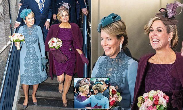 Maxima of the Netherlands, 45, and Mathilde of Belgium, 43, shared a warm embrace as they met up ahead of their engagement in the Dutch city of Utrecht this afternoon.