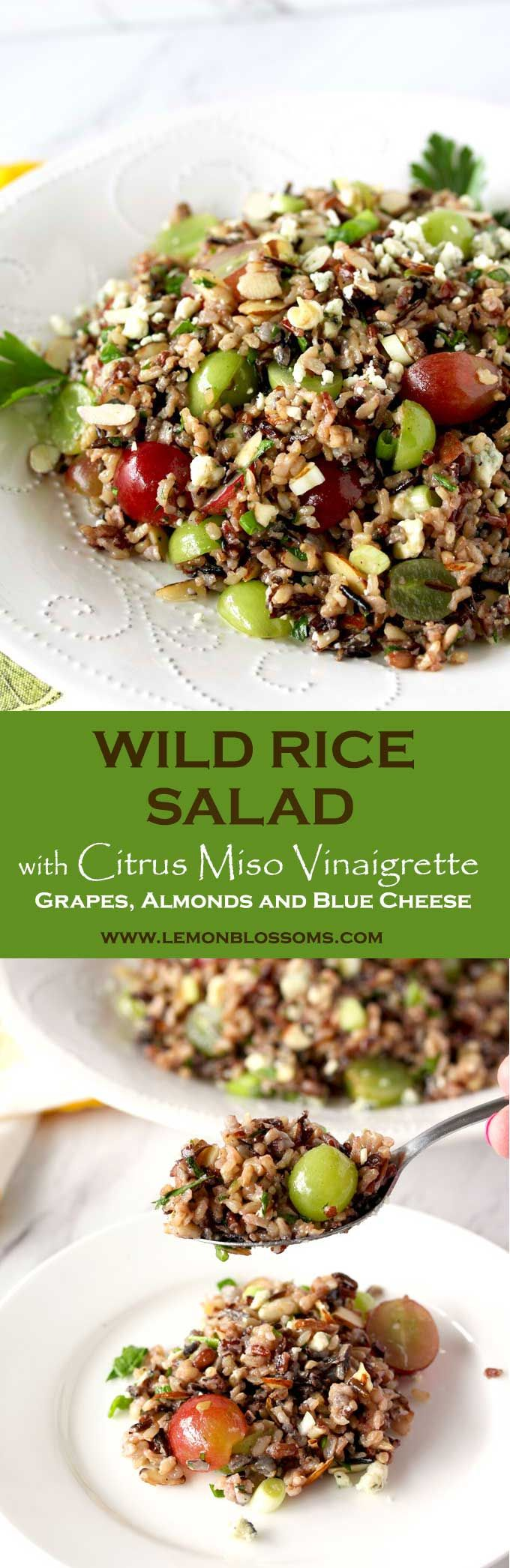 This Wild Rice Salad with grapes, almonds and blue cheese is tossed with the easiest, most flavorful Citrus Miso Vinaigrette. The Perfect served as a salad or side dish.  #sidedish #wildrice #salad via @lmnblossoms