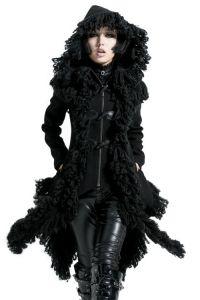Gothic Mantel im Zipfel Fetzen Look mit Kapuze