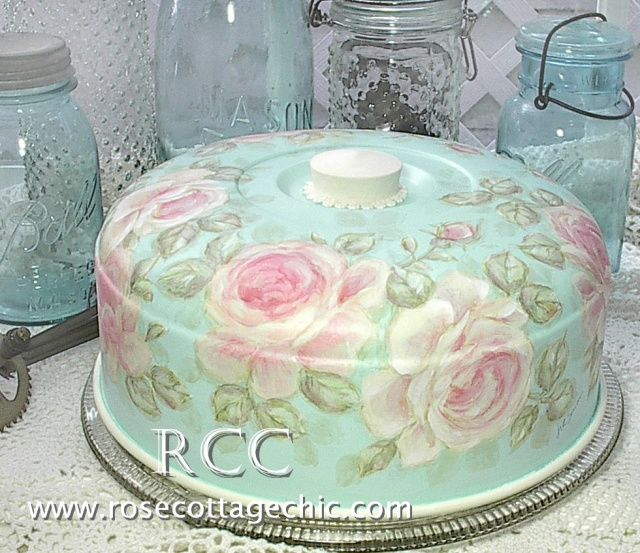 Hand-painted roses on covered cake plates