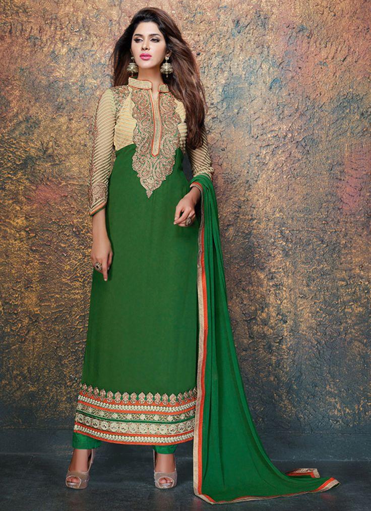 Green Georgette Ankle Length Anarkali Suit 59814