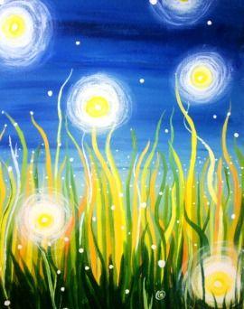 Fireflies - an uplifting portrait reminding us of summer nights  #paintnite #blue #yellow