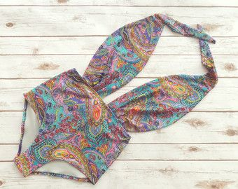 Swimsuit High Waisted Vintage Style One Piece Retro by Bikiniboo
