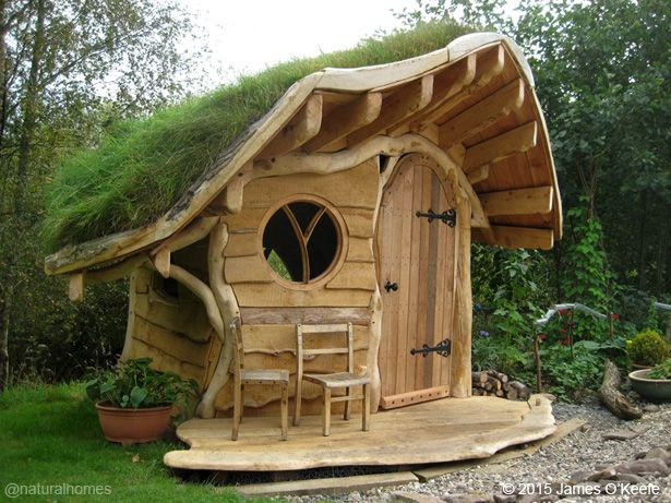 This oak playhouse, by James O'Keefe, was built with roundwood timbers and waney edged planks and has wild flowers in its green roof. See the step by step construction at www.naturalhomes.org/the-wee-dinky-house.htm