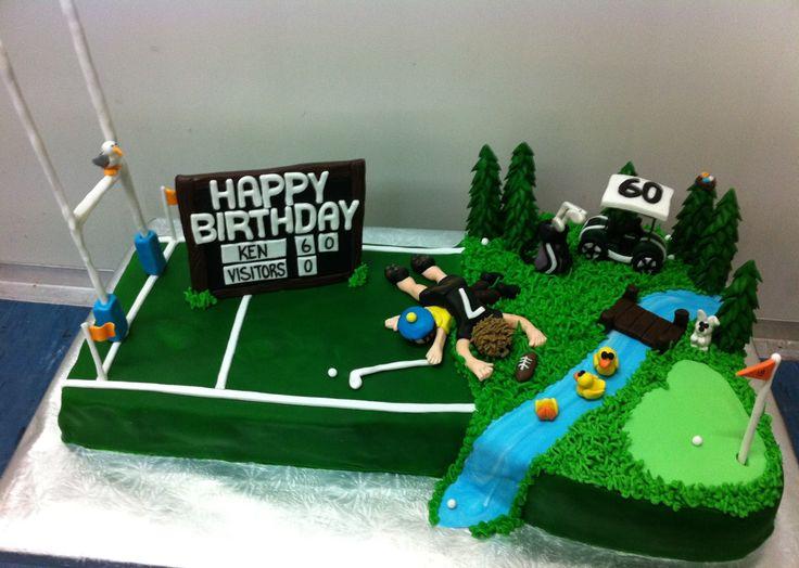 Half rugby, half golf birthday cake
