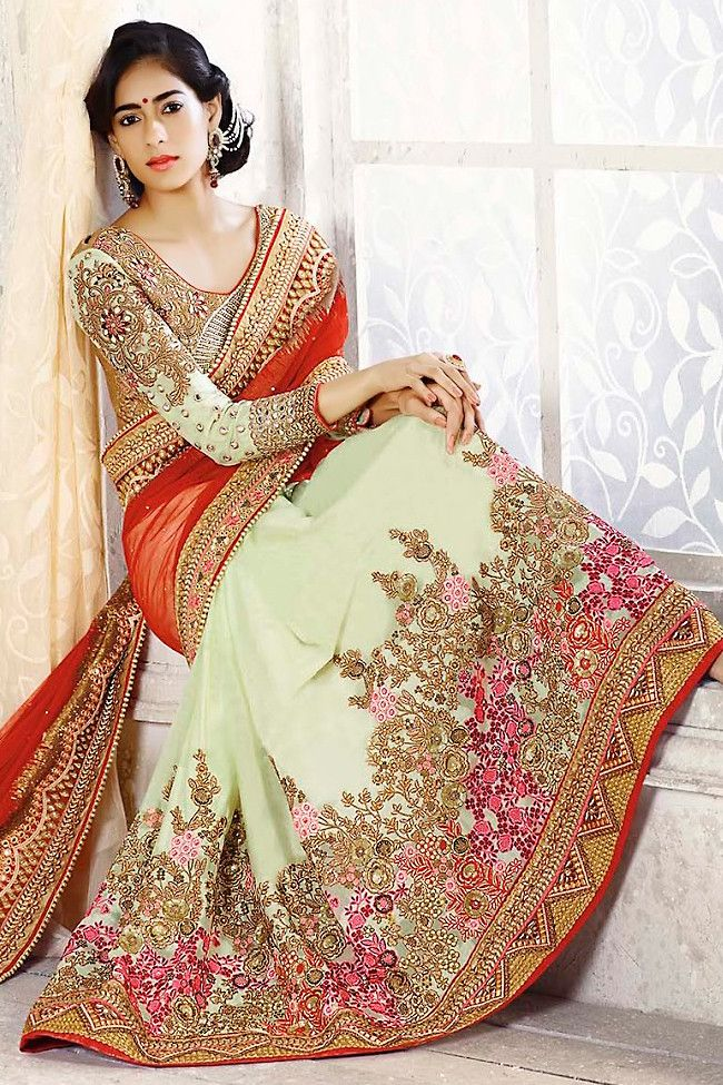 Cream and Red Heavy Bridal Saree