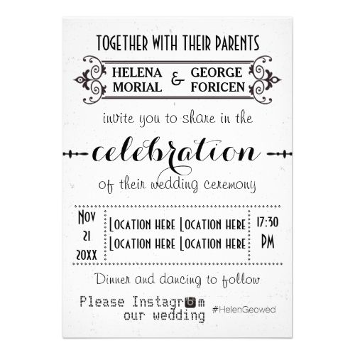 Modern typography with Instagram hashtag wedding Custom Invites