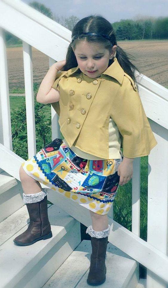 girls skirt  - Ready for School   Skirt 18 mos 24 mos 2T 3T 4T by wickedcutekidz