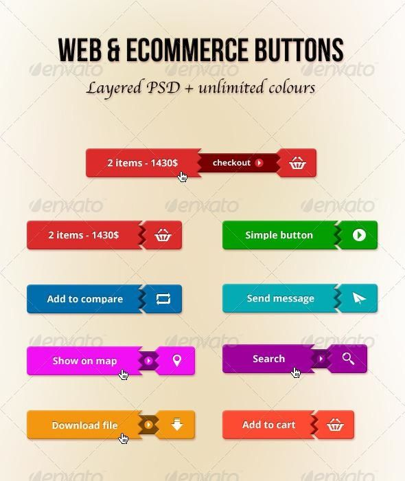 Web and E-Commerce Buttons for $3 - Envato #webdesign