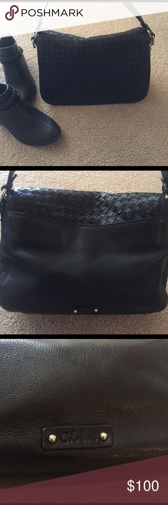 Stunning! Black Leather Cole Haan Purse Excellent condition! Beautifully made! Has ample room for storage (3 inner pockets, 1 with magnetic Closure in back of purse. Great size for every day or a night out! Versatile! Tiny white scuff on bottom, not noticeable. Approximate dimensions: 12.5 X 9 x 5 Cole Haan Bags