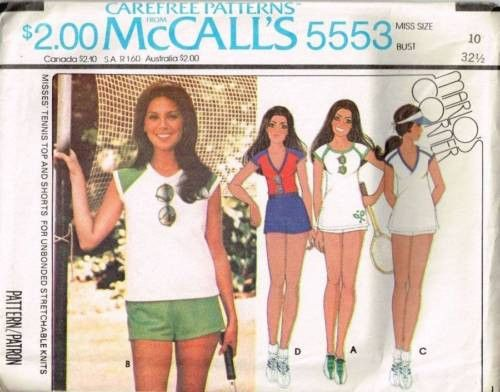 5553 Sewing Pattern Ladies Tennis Top and Shorts 10