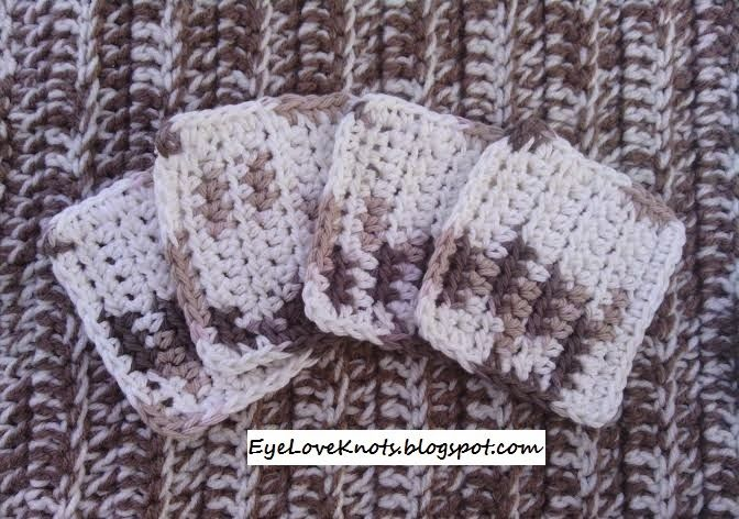 EyeLoveKnots: Crochet Square Facial Scrubbies in Sand Dune Ombre by Bernat - FREE Pattern