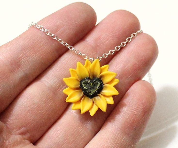 Sunflower Heart Necklace,Sunflower Jewelry, Gifts,Yellow Sunflower Bridesmaid, Sunflower Flower Necklace,Bridal Flowers, Bridesmaid Necklace by NikushJewelryArt on Etsy