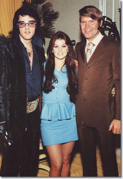 Elvis Presley Priscilla Presley and Glen Campbell at George Klein's wedding, December 5, 1970