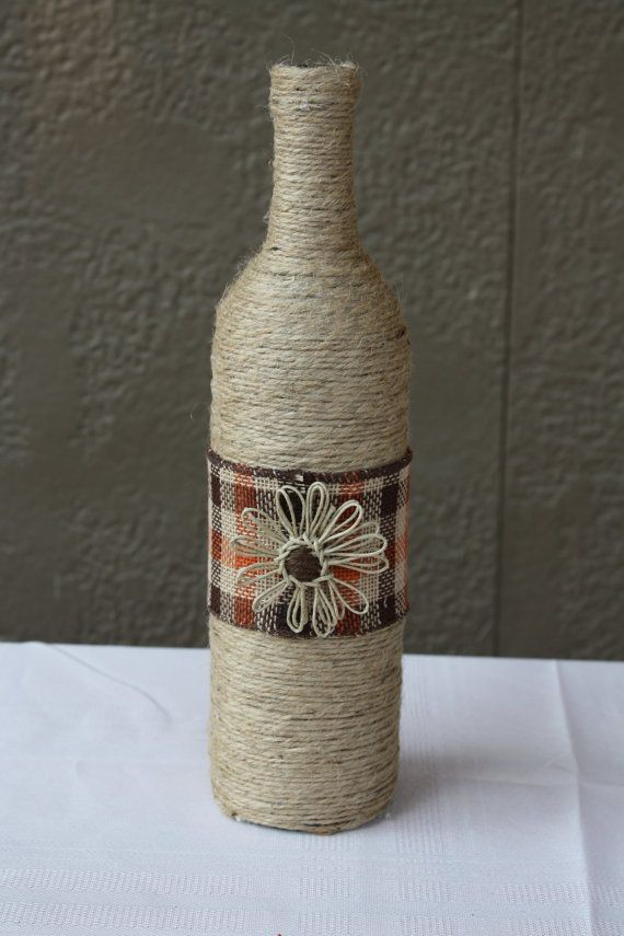13 Custom Wrapped Wine Bottle with Twine and by DragonflyDaisies