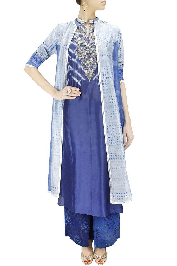 Ocean blue shibori front open jacket BY KRISHNA MEHTA. Shop now at: www.perniaspopups... #perniaspopupshop #designer #stunning #fashion #style #beautiful #happyshopping #love #updates