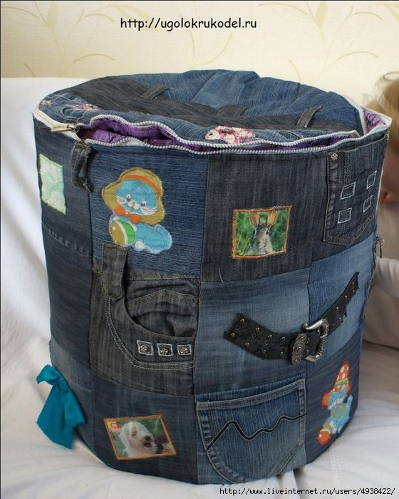 Корзина из старых джинсов.Шьем сами.. Обсуждение на LiveInternet - Российский Сервис Онлайн-Дневников