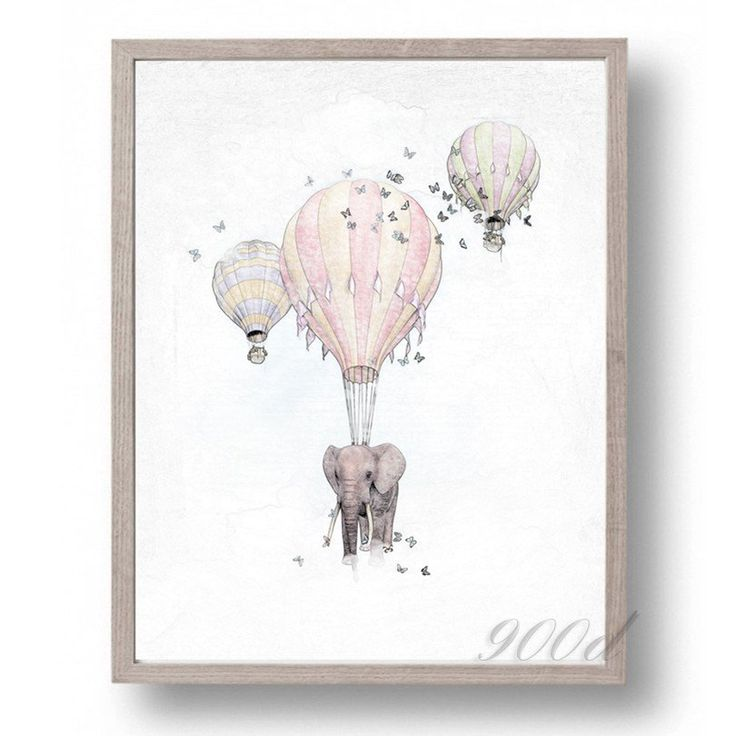 Elephant with Fire Balloon Sketch Canvas Art Print Painting Poster,  Wall…