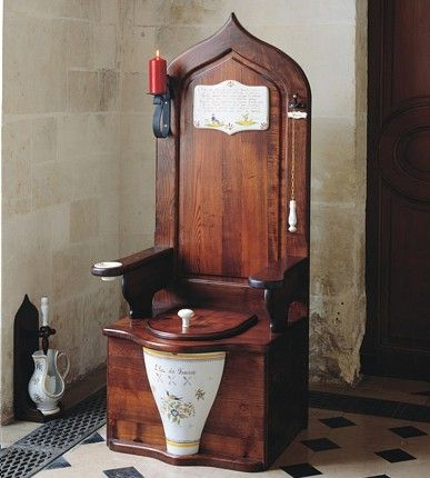 """Dagobert wooden toilet throne  Dagobert was the last ruler of the 8th century French Merovingian dynasty and he is the man who serves as the inspiration for this toilet. What a legacy. This classy throwback toilet includes features such as ash wood construction with hand-painted Moustier Polychrome designs, the musical chime """"Le Bon Roi Dagobert"""" begins playing as the lid is raised, pull chain flush with bell and a full set of accessories including candleholder and ashtray. $14,123"""